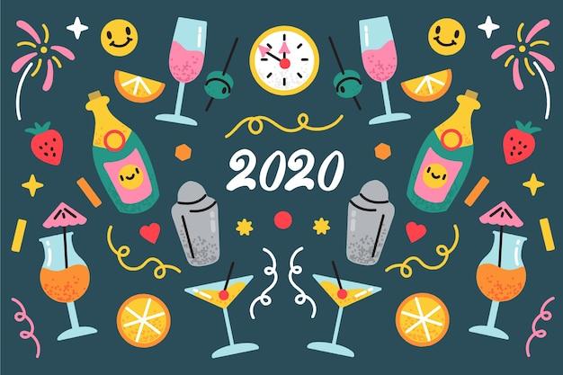 Gezeichneter hintergrund des neuen jahres 2020