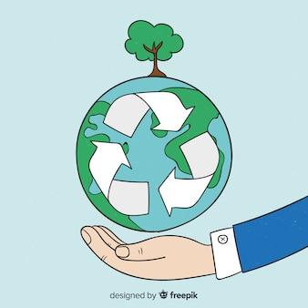 Gezeichneter hintergrund des ökologiekonzeptes hand
