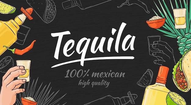 Gezeichneter hintergrund des tequila hand mit mexikanischem taco und pfeffer, flasche und schuss, kalk und agave. tequila-vorlage mit text und schriftzug.