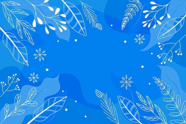 Gezeichneter hintergrund mit winterblättern