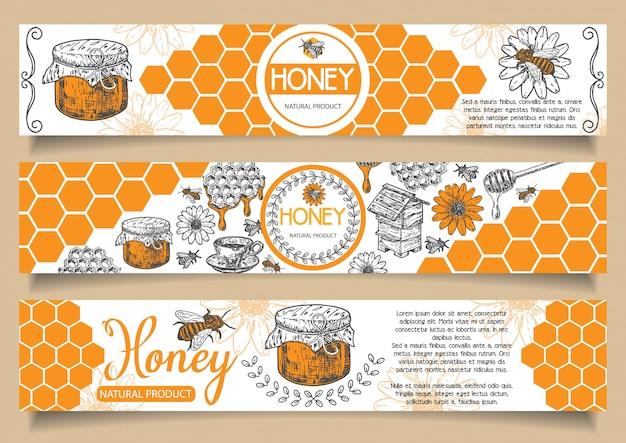 Gezeichneter horizontaler fahnensatz des natürlichen honigs der biene hand