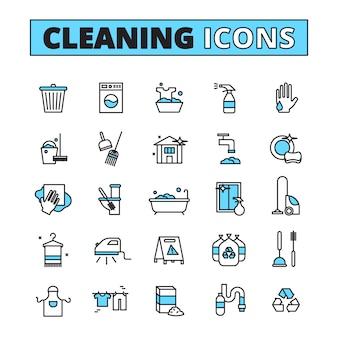 Gezeichneter ikonensatz der reinigungshand von haushaltsgerätreinigern und -reinigungsmitteln lokalisierte vektorillustration