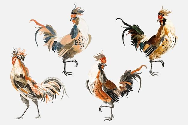 Gezeichneter illustrationssatz des weinlesehühnervektorvogels hand