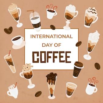 Gezeichneter internationaler tag der kaffeeillustration