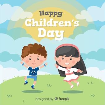 Gezeichneter Kinderhintergrund des Kinder Tages Hand