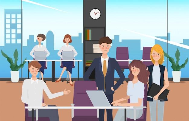 Gezeichneter leuteteamwork-bürocharakter des geschäfts hand. arbeitsbereich und innenraumgestaltung.