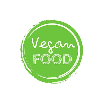 Gezeichneter logoaufkleber des karikaturgekritzelvektors hand. veganes essen.