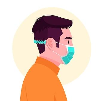 Gezeichneter mann, der eine verstellbare gesichtsmaske trägt
