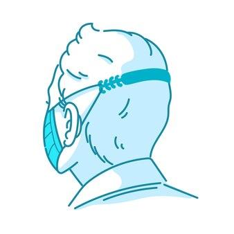 Gezeichneter mann, der einen verstellbaren medizinischen maskenriemen trägt