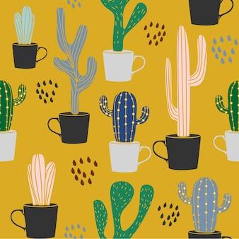 Gezeichneter nahtloser hintergrund des kaktus-sommers exotische hand