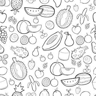 Gezeichneter nahtloser musterhintergrund der frucht hand