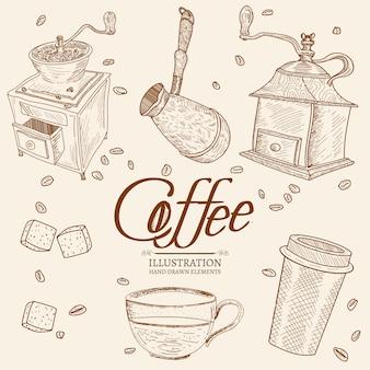 Gezeichneter satz der weinlesekaffeegegenstände hand