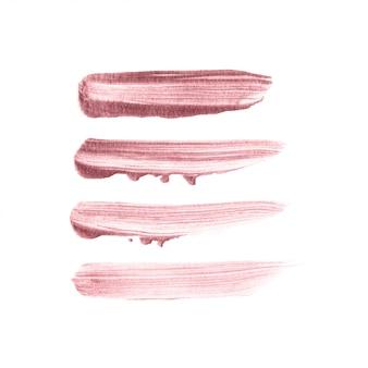Gezeichneter satz des rosengoldbürstenanschlags hand