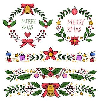 Gezeichneter satz von weihnachtsdekorationselementen