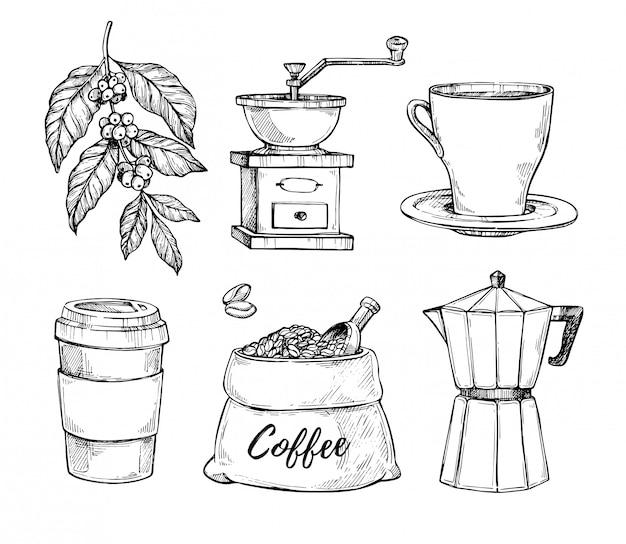 Gezeichneter skizzensatz der kaffeeweinlese hand