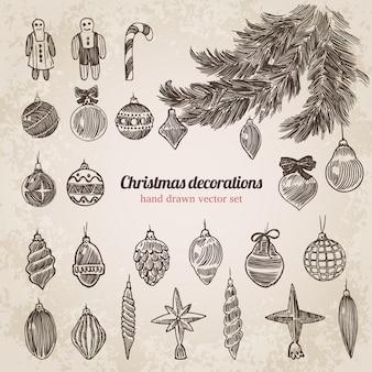 Gezeichneter stichart-vektorsatz der neujahrs-weihnachtsbaumdekorationen hand.