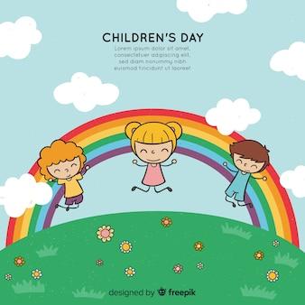 Gezeichneter stil des glücklichen kindertageshintergrundes in der hand mit kindern und regenbogen