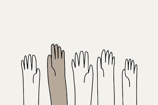 Gezeichneter stil des menschenrechtsgekritzelvektors hand
