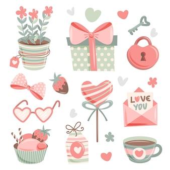 Gezeichneter valentinstagselementsatz