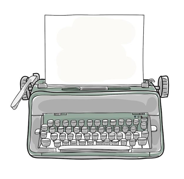 Gezeichneter vektor der grünen weinlese schreibmaschine hand