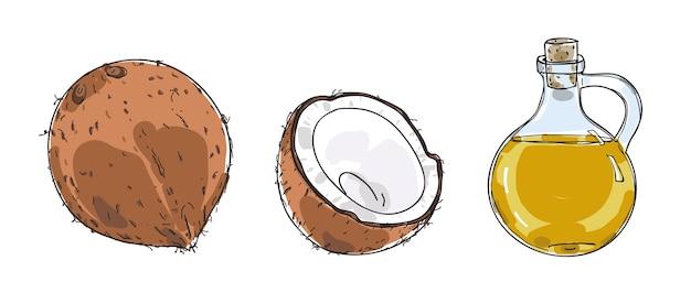 Gezeichneter vektor der kokosnuss und des kokosnussöls hand