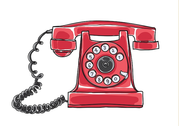 Gezeichneter vektor des roten antiken drehwahl-telefons hand