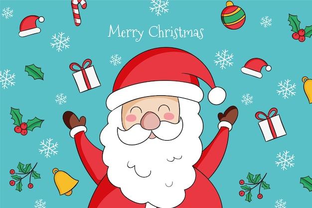 Gezeichneter weihnachtsmann mit niedlichen elementen um ihn herum