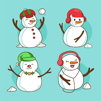 Gezeichneter weihnachtsschneemanncharakter