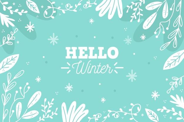 Gezeichneter winterhintergrund mit hallo wintertext