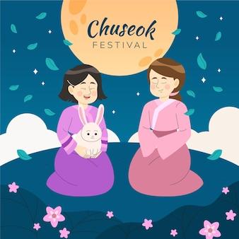 Gezeichnetes chuseok-festivalereignis illustriert