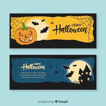 Gezeichnetes design der halloween-fahnenschablone hand