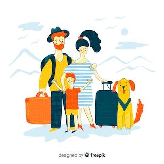 Gezeichnetes design der reisenden hand der familie
