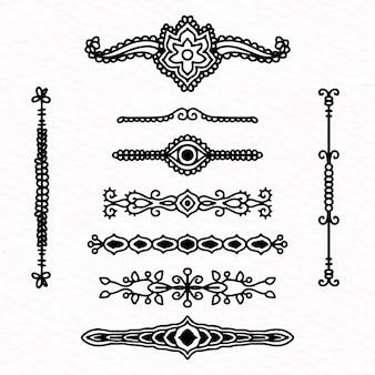 Gezeichnetes design der teilersammlung hand
