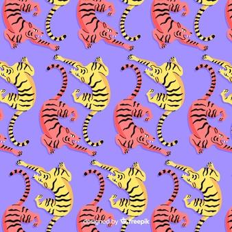 Gezeichnetes design des tigermusters hand