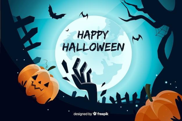 Gezeichnetes design halloween-hintergrundes hand