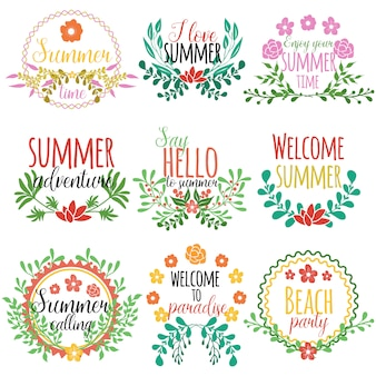 Gezeichnetes element-set-konzept mit sommerzeit genießen sie ihre sommerzeit begrüßen sie den sommer und andere beschreibungen