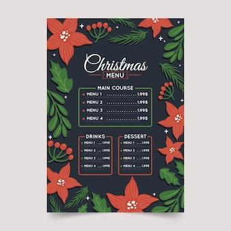 Gezeichnetes festliches weihnachtsrestaurantmenü