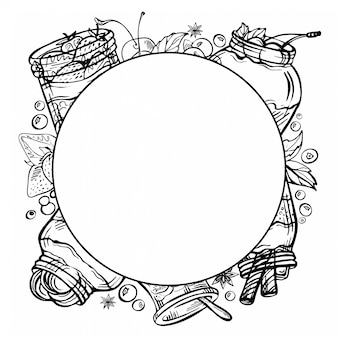 Gezeichnetes gekritzel der skizzentinte hand rahmen eines joghurts mit früchten, erdbeere, schokolade, kirsche.