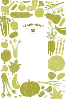 Gezeichnetes gemüsedesign der karikatur hand. linolschnitt-stil. gesundes essen. vektor-illustration