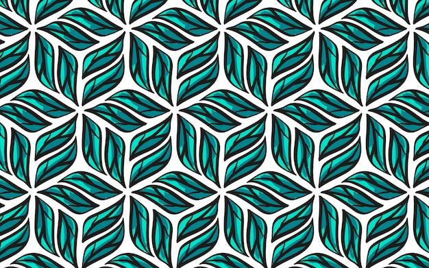 Gezeichnetes geometrisches nahtloses muster der blätter.