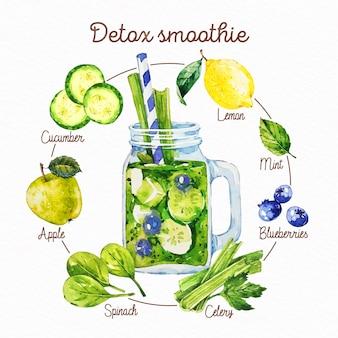 Gezeichnetes gesundes smoothie-rezept