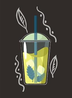 Gezeichnetes getränk. sommerlicher frucht-smoothie-drink mit fruchtgeschmack. alkoholcocktail mit strohhalm. doodle-smoothie in einem glas