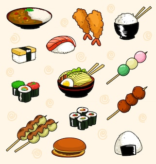 Gezeichnetes japanisches nahrungsmittelgerichtmenü der karikatur nette hand