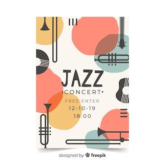 Gezeichnetes jazzplakat der schablone abstrakte hand