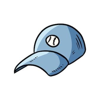 Gezeichnetes karikatur-gekritzelbild der baseballmütze hand