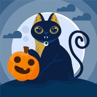 Gezeichnetes konzept der halloween-katze