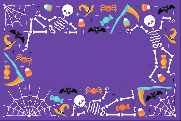 Gezeichnetes konzept des glücklichen halloween-hintergrunds
