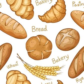 Gezeichnetes Muster der Bäckerei Hand nahtlos