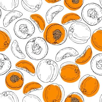 Gezeichnetes nahtloses muster der aprikose hand.