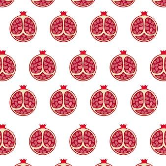 Gezeichnetes nahtloses muster der granatapfelfrucht hand